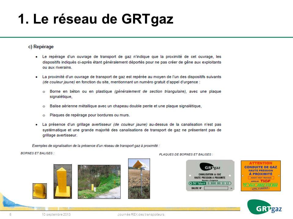 1. Le réseau de GRTgaz 10 septembre 2013Journée REX des transporteurs5