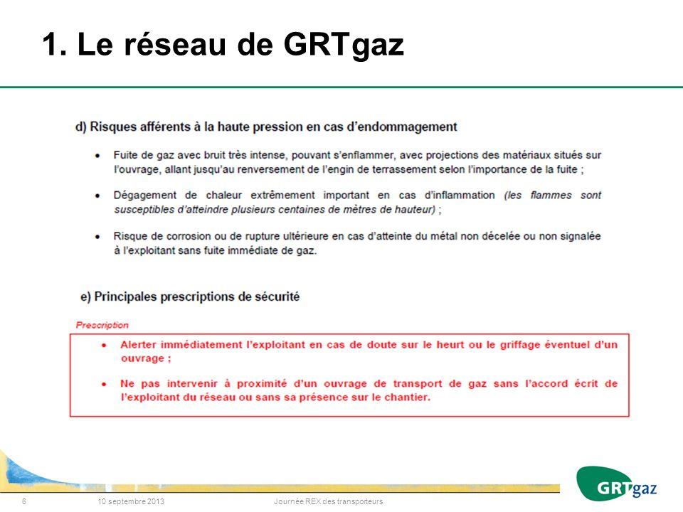 1. Le réseau de GRTgaz 10 septembre 2013Journée REX des transporteurs6
