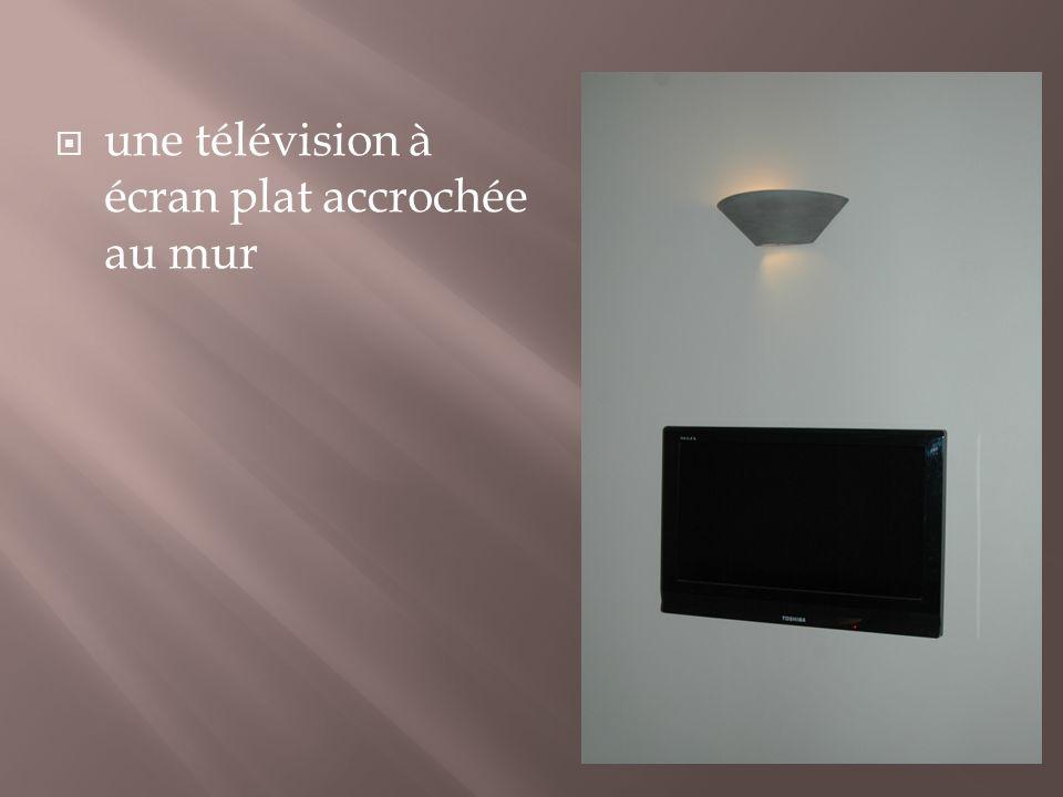 une télévision à écran plat accrochée au mur