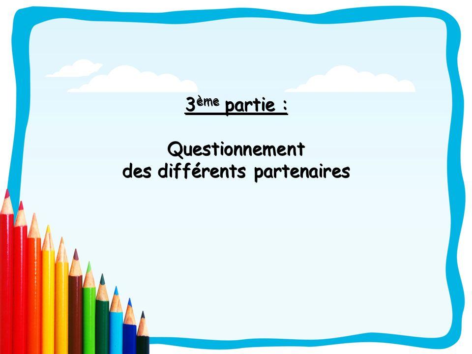 3 ème partie : Questionnement des différents partenaires