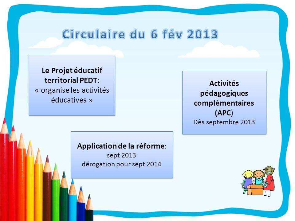 Le Projet éducatif territorial PEDT: « organise les activités éducatives » Activités pédagogiques complémentaires (APC) Dès septembre 2013 Activités p