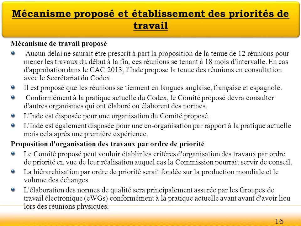 Jodhpur Mécanisme proposé et établissement des priorités de travail Mécanisme de travail proposé Aucun délai ne saurait être prescrit à part la propos