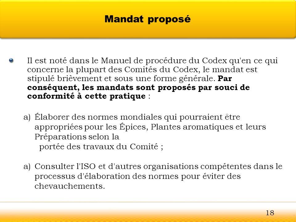 Guntur Il est noté dans le Manuel de procédure du Codex qu'en ce qui concerne la plupart des Comités du Codex, le mandat est stipulé brièvement et sou