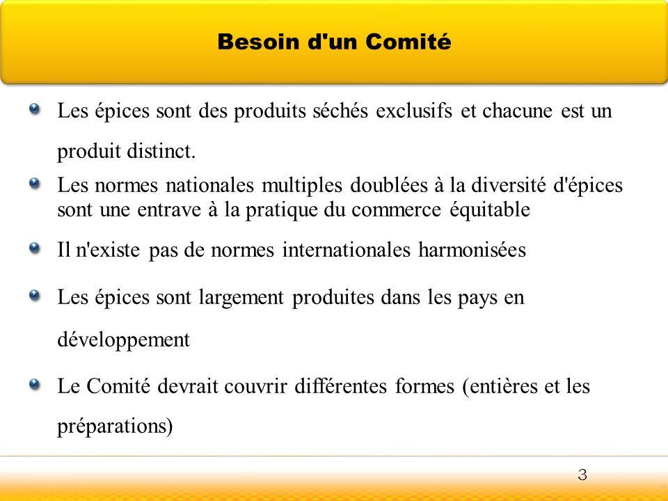 Les épices sont des produits séchés exclusifs et chacune est un produit distinct. Les normes nationales multiples doublées à la diversité d'épices son