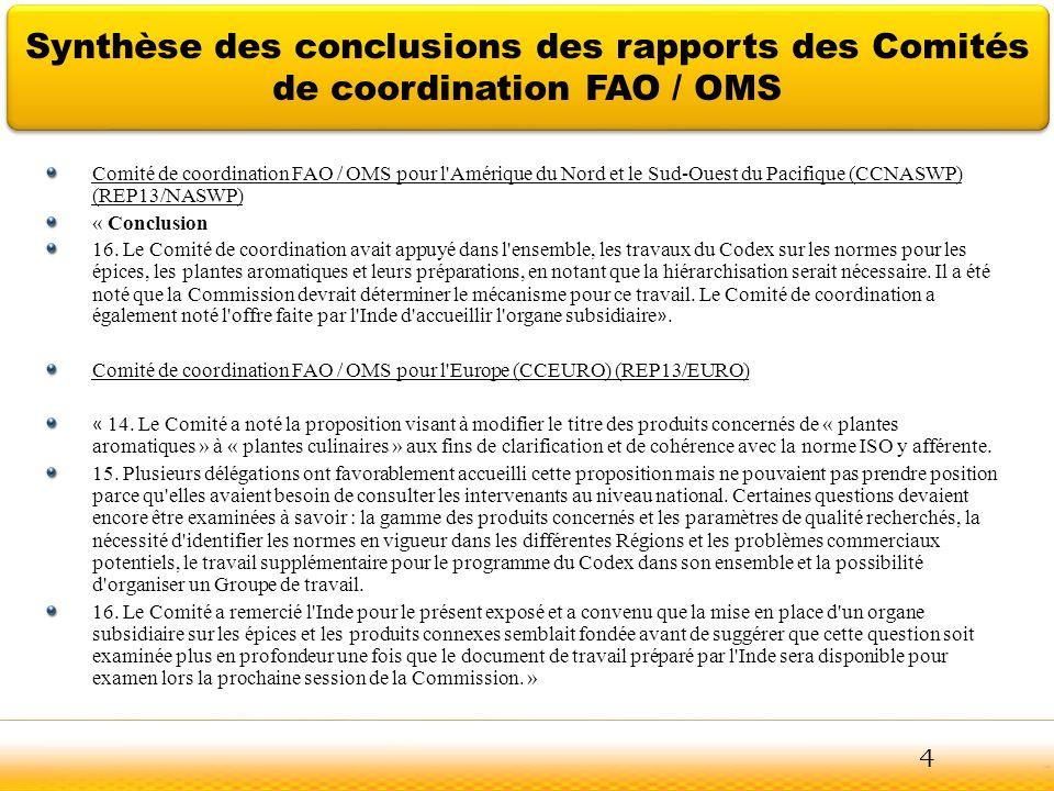 Jodhpur Synthèse des conclusions des rapports des Comités de coordination FAO / OMS Comité de coordination FAO / OMS pour l'Amérique du Nord et le Sud