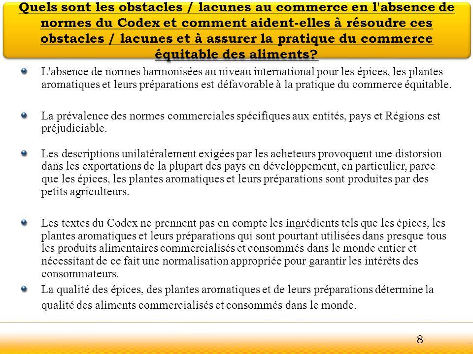 Guntur Il est recommandé que la Commission du Codex Alimentarius examine la proposition de création d un Comité du Codex sur les épices, plantes aromatiques et leurs préparations en tenant compte des conclusions de la FAO / OMS sur les Comités de coordination et l examen de ces conclusions telles que contenues dans le présent document de discussion et expliquées dans les diapositives précédentes Si la Commission s accorde pour la mise en place du Comité proposé du Codex, il est en outre recommandé de se prononcer sur les points suivants : Portée des travaux proposés, Mandat et examen de l éventualité d approuver les quatre propositions de travail qui permettent à la Commission d entreprendre des travaux à sa première réunion.