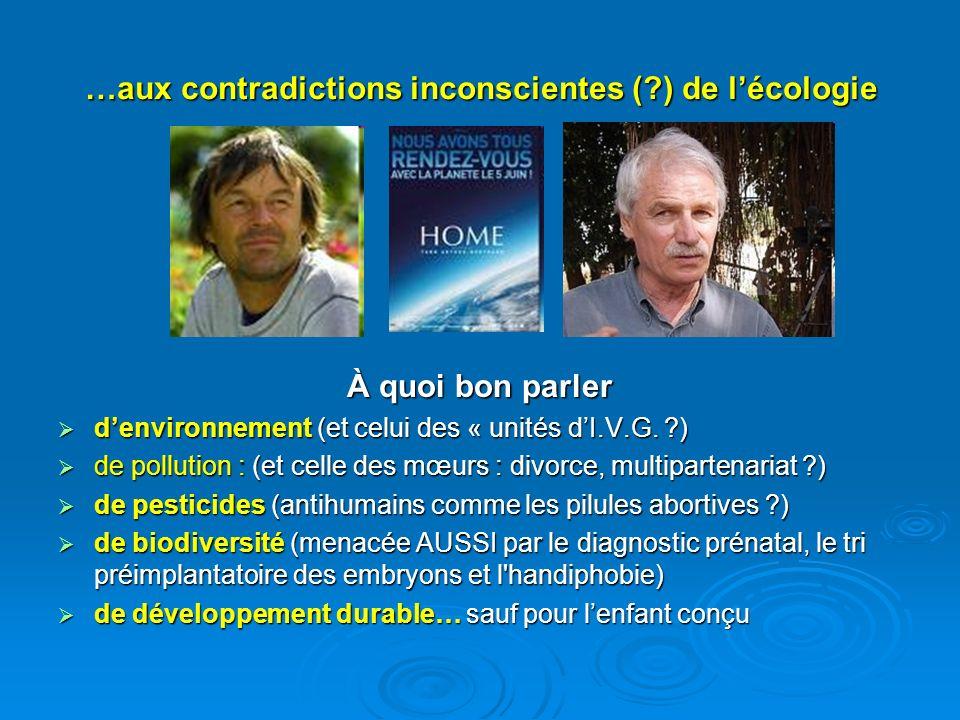…aux contradictions inconscientes (?) de lécologie À quoi bon parler denvironnement (et celui des « unités dI.V.G. ?) denvironnement (et celui des « u