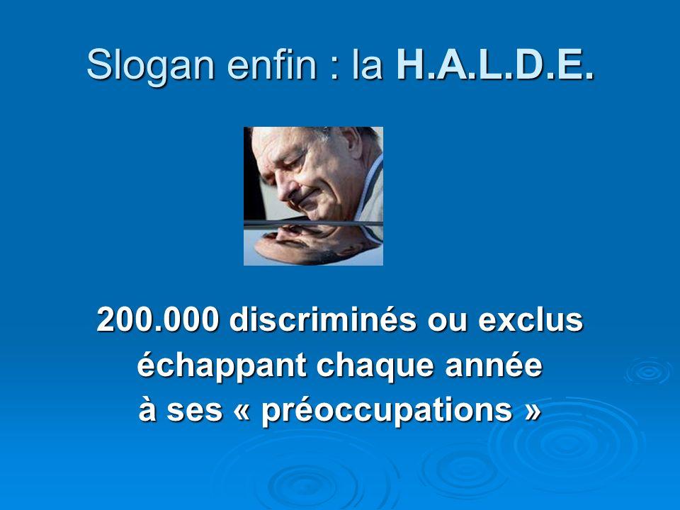 Slogan enfin : la H.A.L.D.E. 200.000 discriminés ou exclus échappant chaque année à ses « préoccupations »