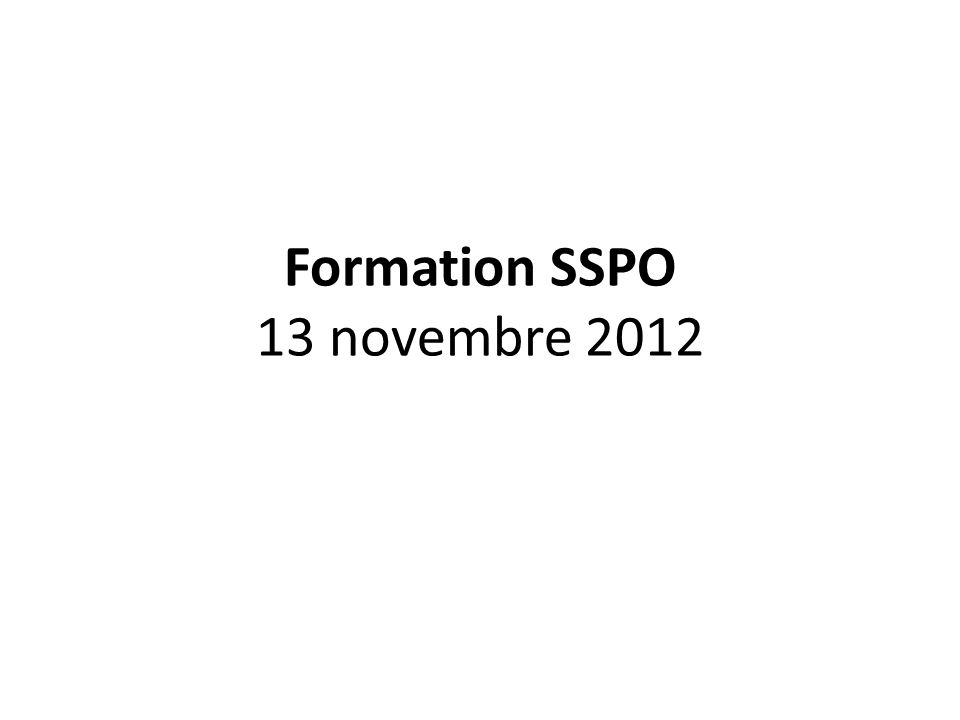 Formation SSPO 13 novembre 2012