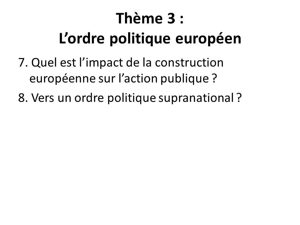 Thème 3 : Lordre politique européen 7. Quel est limpact de la construction européenne sur laction publique ? 8. Vers un ordre politique supranational