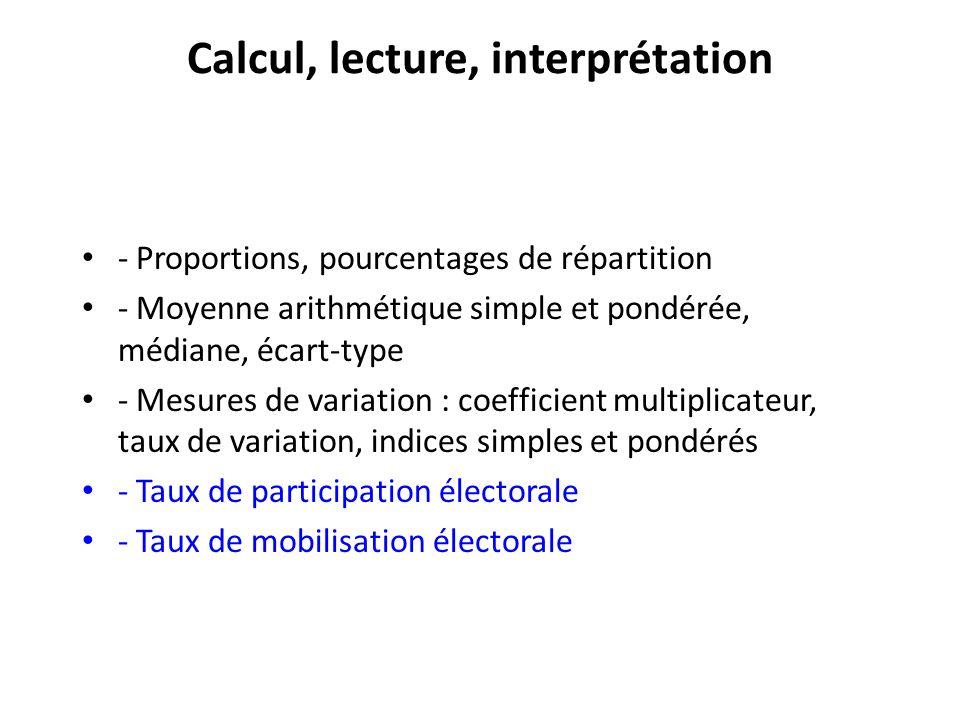 Calcul, lecture, interprétation - Proportions, pourcentages de répartition - Moyenne arithmétique simple et pondérée, médiane, écart-type - Mesures de