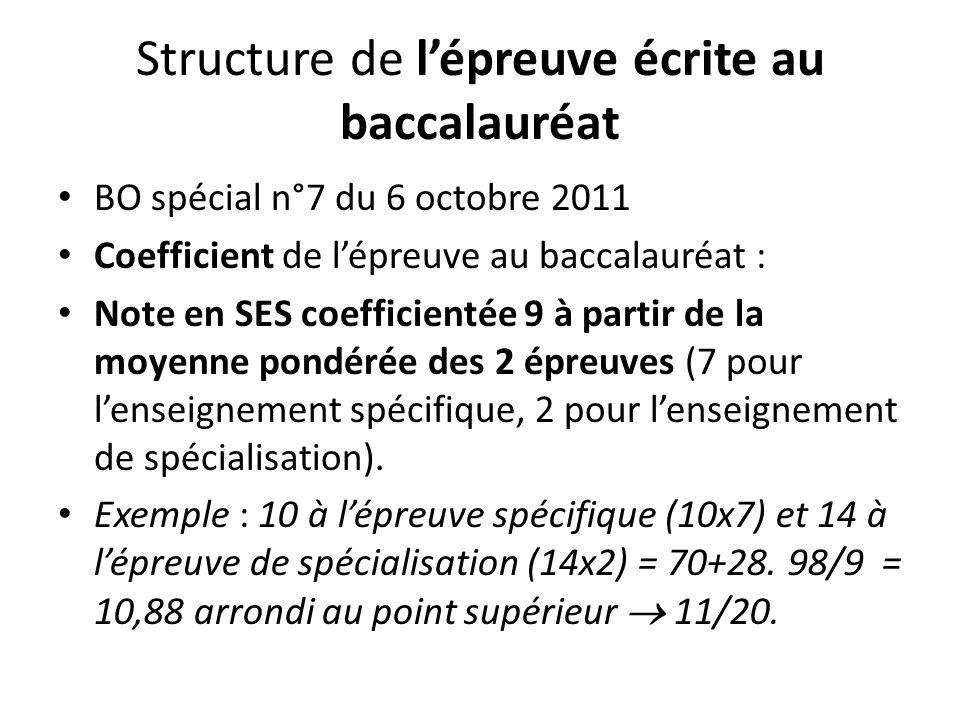 Structure de lépreuve écrite au baccalauréat BO spécial n°7 du 6 octobre 2011 Coefficient de lépreuve au baccalauréat : Note en SES coefficientée 9 à