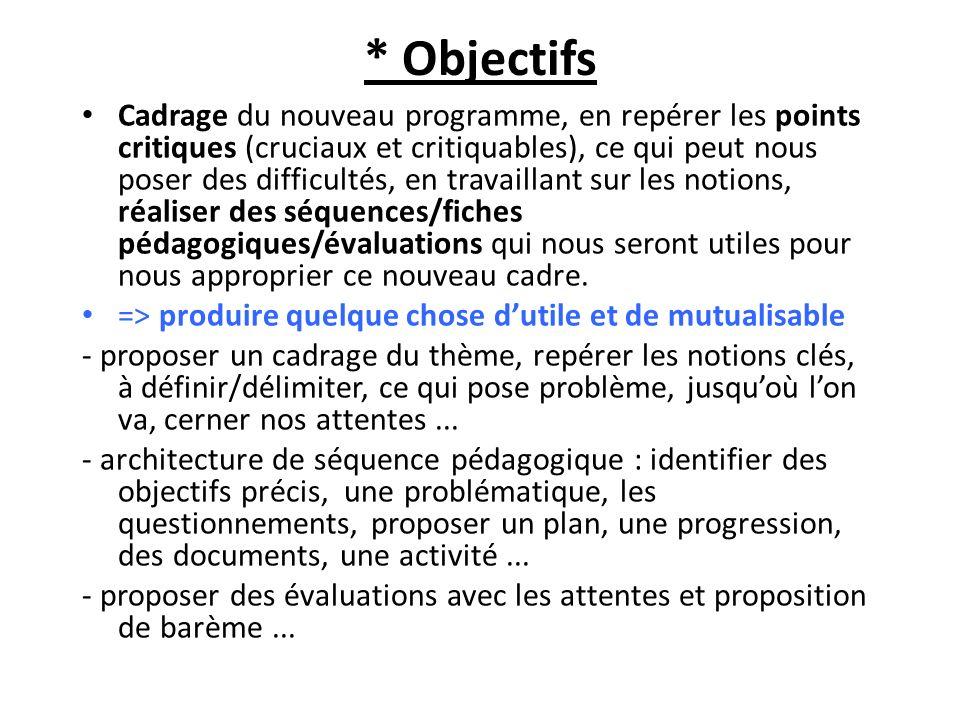 * Objectifs Cadrage du nouveau programme, en repérer les points critiques (cruciaux et critiquables), ce qui peut nous poser des difficultés, en trava