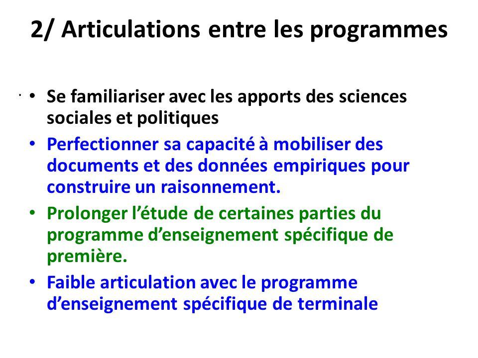 2/ Articulations entre les programmes Se familiariser avec les apports des sciences sociales et politiques Perfectionner sa capacité à mobiliser des d