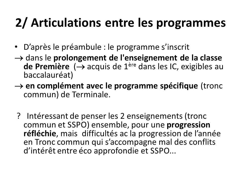 2/ Articulations entre les programmes Daprès le préambule : le programme sinscrit dans le prolongement de l'enseignement de la classe de Première ( ac