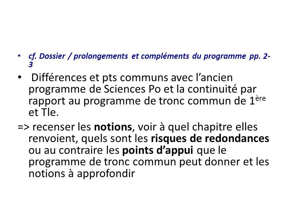 cf. Dossier / prolongements et compléments du programme pp. 2- 3 Différences et pts communs avec lancien programme de Sciences Po et la continuité par