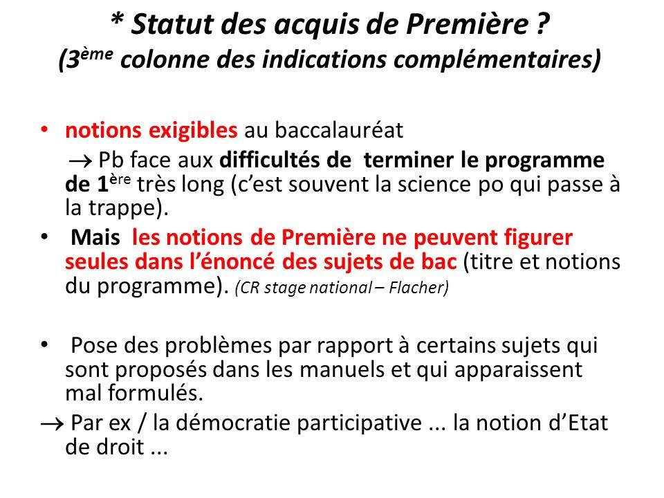 * Statut des acquis de Première ? (3 ème colonne des indications complémentaires) notions exigibles au baccalauréat Pb face aux difficultés de termine