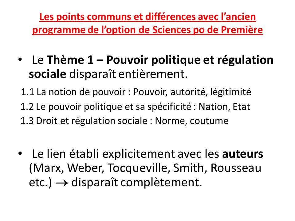 Les points communs et différences avec lancien programme de loption de Sciences po de Première Le Thème 1 – Pouvoir politique et régulation sociale di