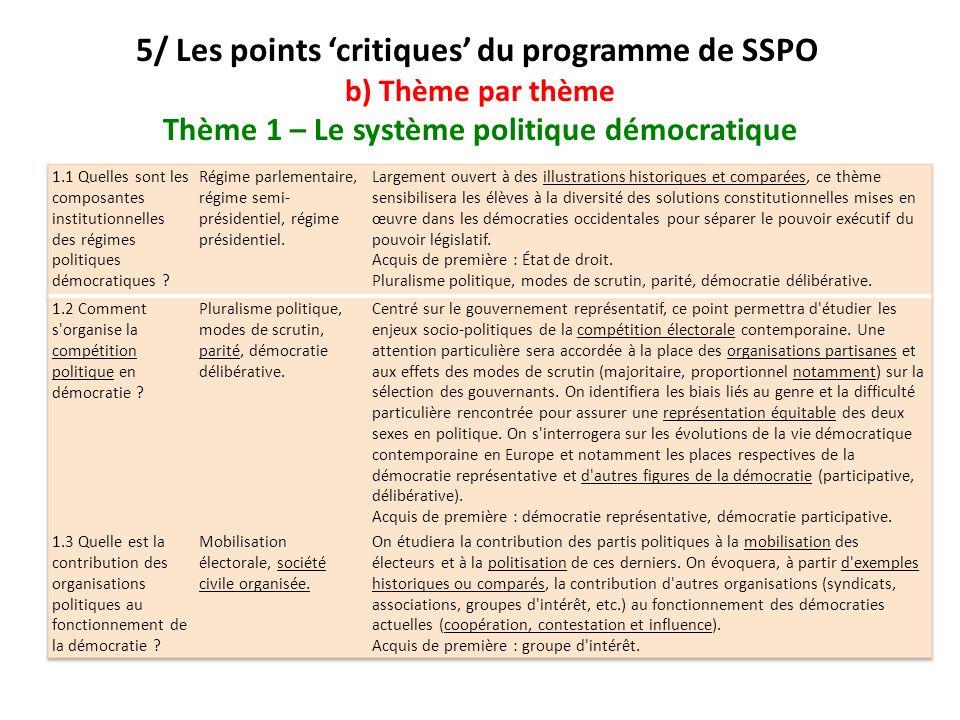 5/ Les points critiques du programme de SSPO b) Thème par thème Thème 1 – Le système politique démocratique