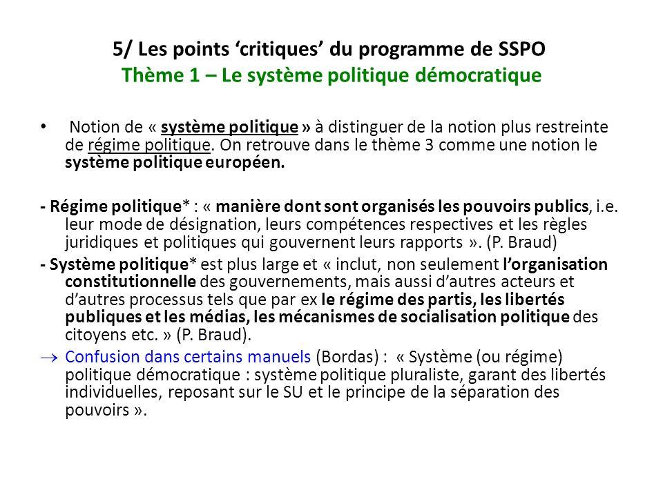 5/ Les points critiques du programme de SSPO Thème 1 – Le système politique démocratique Notion de « système politique » à distinguer de la notion plu
