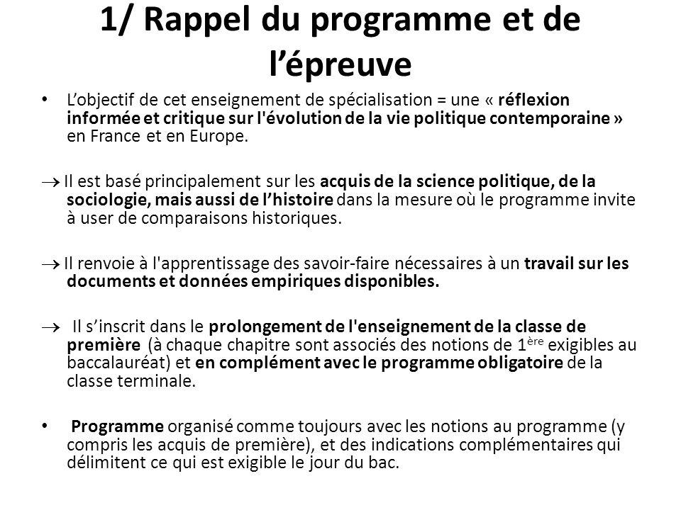 1/ Rappel du programme et de lépreuve Lobjectif de cet enseignement de spécialisation = une « réflexion informée et critique sur l'évolution de la vie