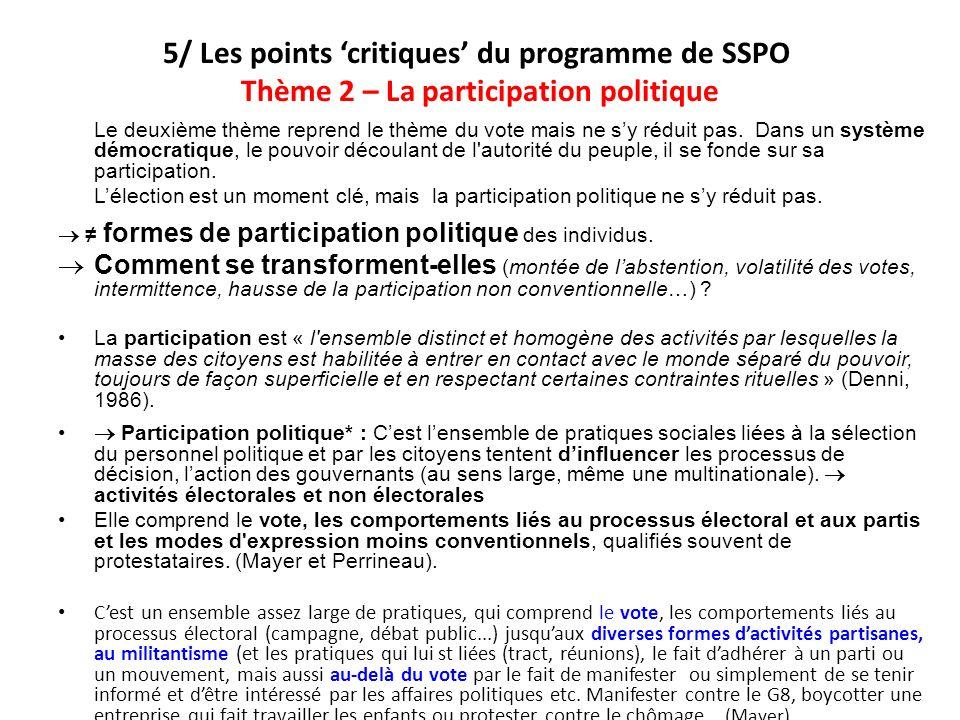 5/ Les points critiques du programme de SSPO Thème 2 – La participation politique Le deuxième thème reprend le thème du vote mais ne sy réduit pas. Da