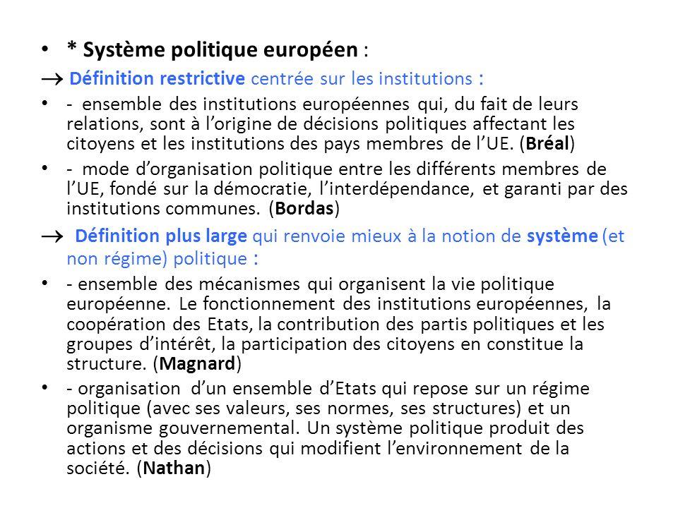 * Système politique européen : Définition restrictive centrée sur les institutions : - ensemble des institutions européennes qui, du fait de leurs rel
