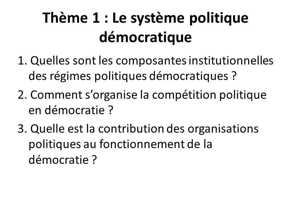 Thème 1 : Le système politique démocratique 1. Quelles sont les composantes institutionnelles des régimes politiques démocratiques ? 2. Comment sorgan