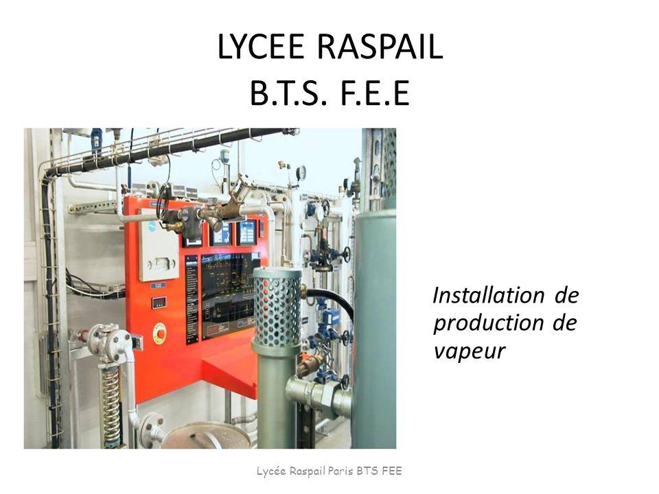 LYCEE RASPAIL B.T.S. F.E.E Installation de production de vapeur Lycée Raspail Paris BTS FEE