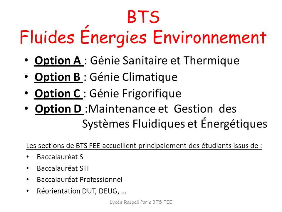 BTS Fluides Énergies Environnement Option A : Génie Sanitaire et Thermique Option B : Génie Climatique Option C : Génie Frigorifique Option D :Mainten