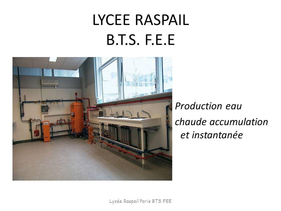 LYCEE RASPAIL B.T.S. F.E.E Production eau chaude accumulation et instantanée Lycée Raspail Paris BTS FEE
