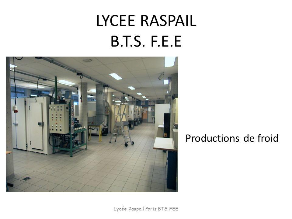 LYCEE RASPAIL B.T.S. F.E.E Productions de froid Lycée Raspail Paris BTS FEE