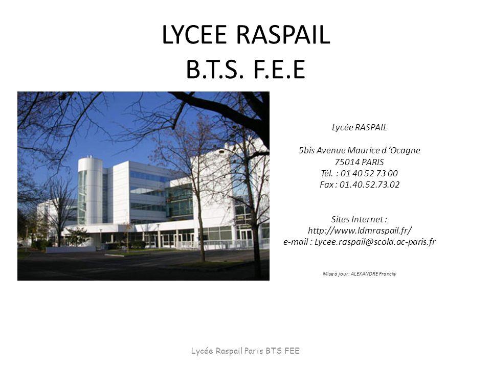 LYCEE RASPAIL B.T.S. F.E.E Lycée RASPAIL 5bis Avenue Maurice d Ocagne 75014 PARIS Tél. : 01 40 52 73 00 Fax : 01.40.52.73.02 Sites Internet : http://w