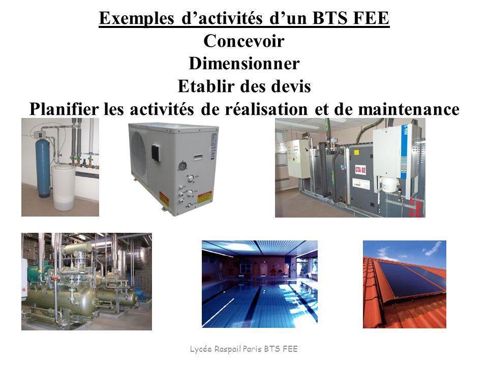 Exemples dactivités dun BTS FEE Concevoir Dimensionner Etablir des devis Planifier les activités de réalisation et de maintenance Lycée Raspail Paris