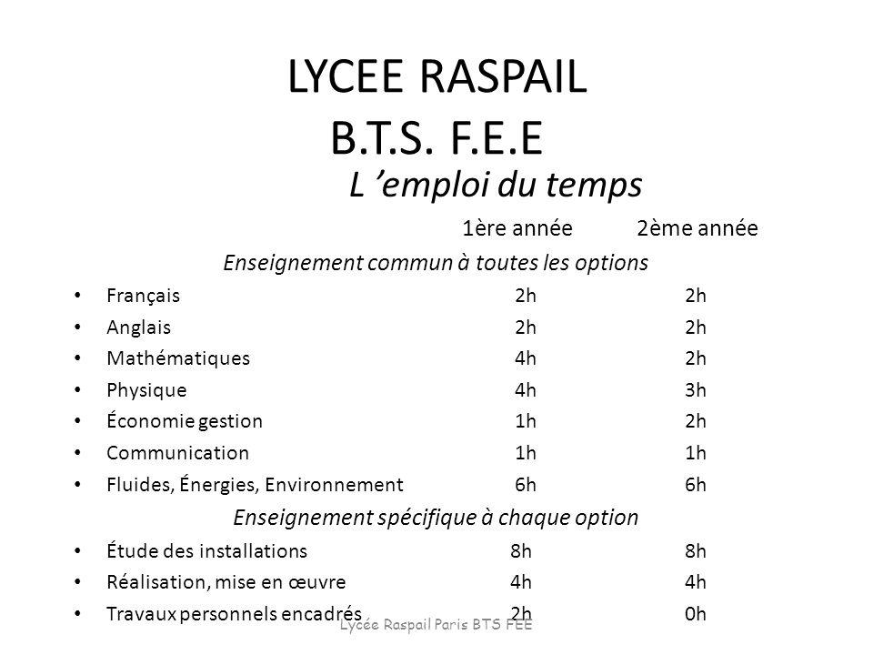 LYCEE RASPAIL B.T.S. F.E.E L emploi du temps 1ère année2ème année Enseignement commun à toutes les options Français 2h2h Anglais 2h2h Mathématiques 4h