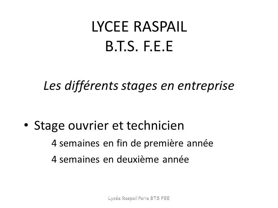 LYCEE RASPAIL B.T.S. F.E.E Les différents stages en entreprise Stage ouvrier et technicien 4 semaines en fin de première année 4 semaines en deuxième