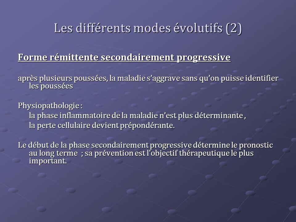 Les différents modes évolutifs (2) Forme rémittente secondairement progressive après plusieurs poussées, la maladie saggrave sans quon puisse identifi