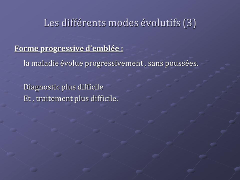 Les différents modes évolutifs (3) Forme progressive demblée : la maladie évolue progressivement, sans poussées. Diagnostic plus difficile Et, traitem