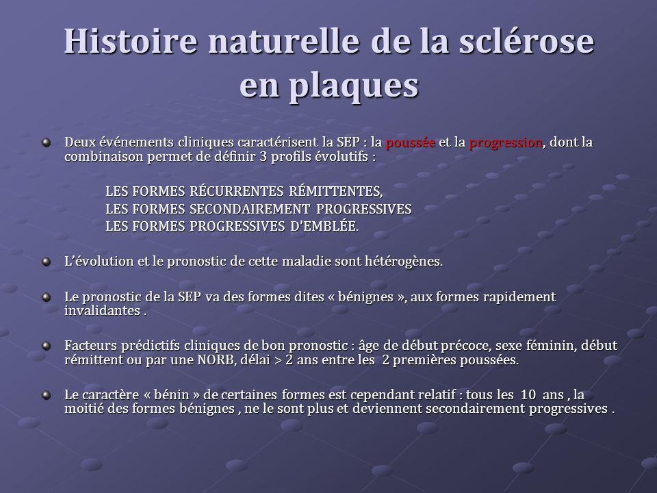Histoire naturelle de la sclérose en plaques Deux événements cliniques caractérisent la SEP : la poussée et la progression, dont la combinaison permet