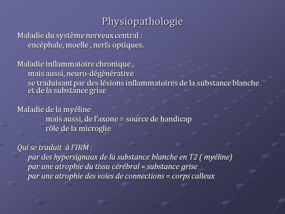 Physiopathologie Maladie du système nerveux central : encéphale, moelle, nerfs optiques. Maladie inflammatoire chronique, mais aussi, neuro-dégénérati