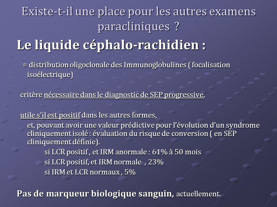 Existe-t-il une place pour les autres examens paracliniques ? Le liquide céphalo-rachidien : = distribution oligoclonale des Immunoglobulines ( focali