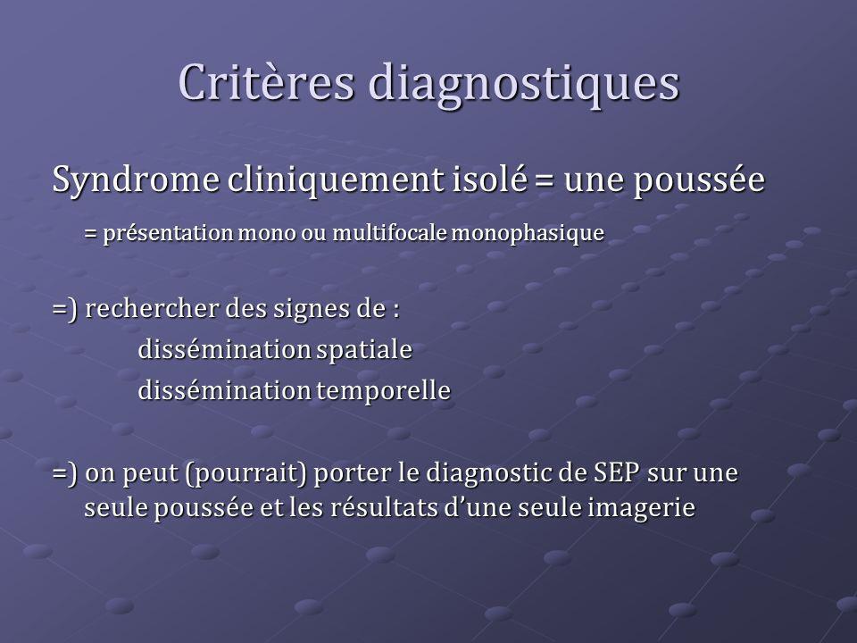 Critères diagnostiques Syndrome cliniquement isolé = une poussée = présentation mono ou multifocale monophasique =) rechercher des signes de : dissémi