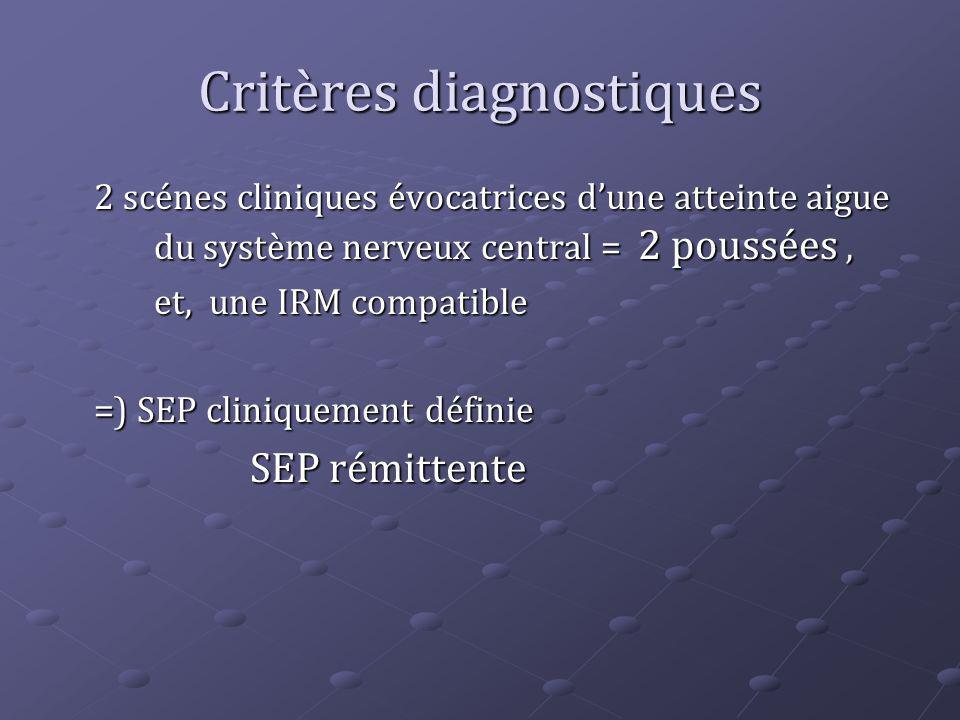Critères diagnostiques 2 scénes cliniques évocatrices dune atteinte aigue du système nerveux central = 2 poussées, et, une IRM compatible =) SEP clini