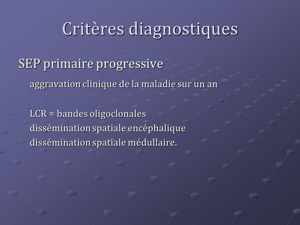 Critères diagnostiques SEP primaire progressive aggravation clinique de la maladie sur un an LCR = bandes oligoclonales dissémination spatiale encépha