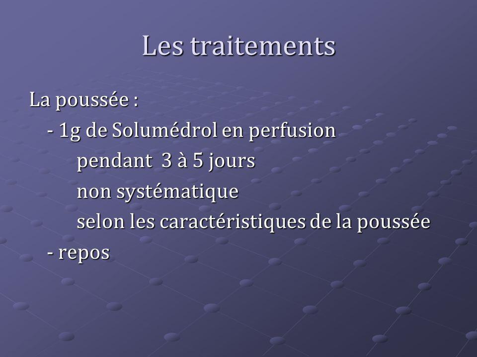 Les traitements La poussée : - 1g de Solumédrol en perfusion pendant 3 à 5 jours non systématique selon les caractéristiques de la poussée - repos