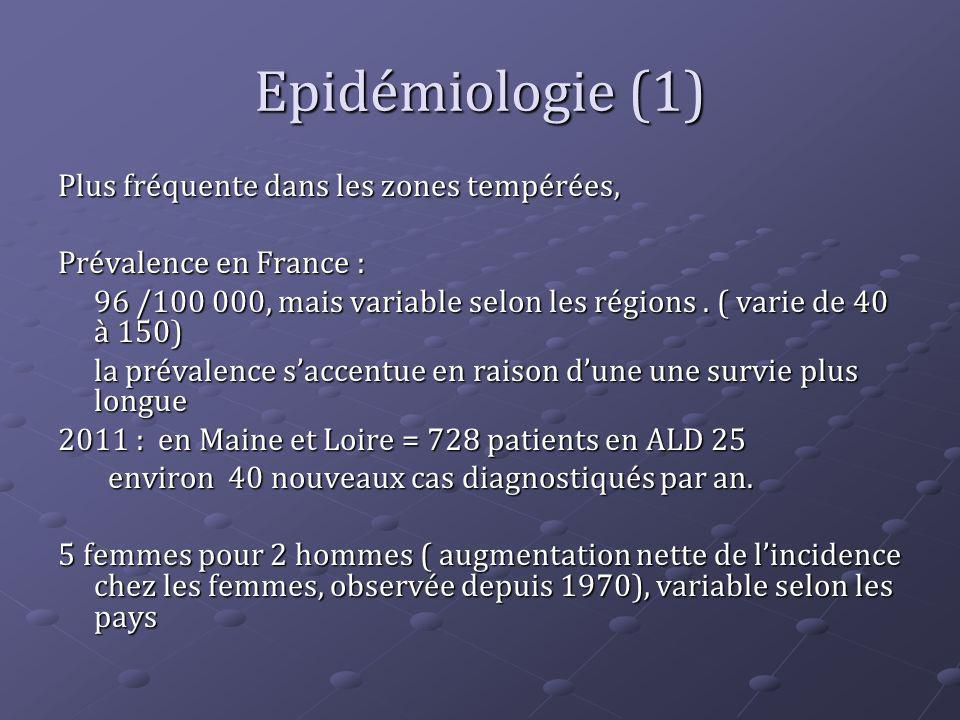 Epidémiologie (1) Plus fréquente dans les zones tempérées, Prévalence en France : 96 /100 000, mais variable selon les régions. ( varie de 40 à 150) l