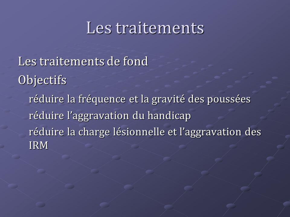 Les traitements Les traitements de fond Objectifs réduire la fréquence et la gravité des poussées réduire laggravation du handicap réduire la charge l