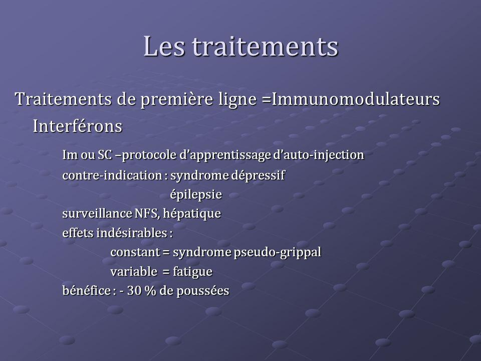 Les traitements Traitements de première ligne =Immunomodulateurs Interférons Im ou SC –protocole dapprentissage dauto-injection contre-indication : sy
