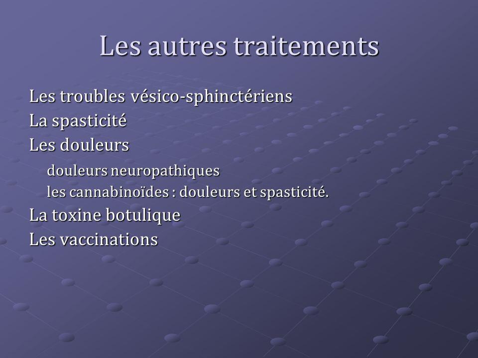 Les autres traitements Les troubles vésico-sphinctériens La spasticité Les douleurs douleurs neuropathiques les cannabinoïdes : douleurs et spasticité