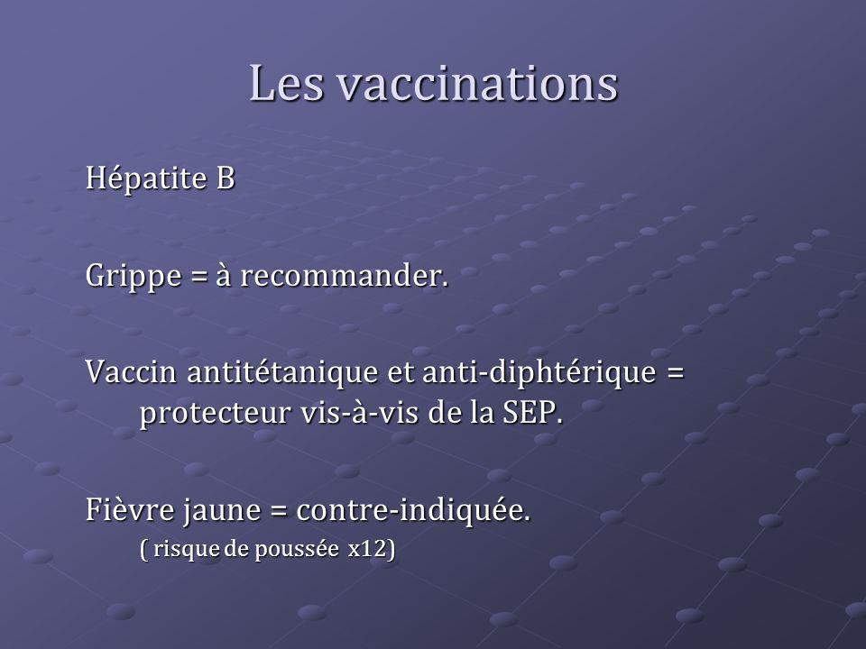 Hépatite B Grippe = à recommander. Vaccin antitétanique et anti-diphtérique = protecteur vis-à-vis de la SEP. Fièvre jaune = contre-indiquée. ( risque